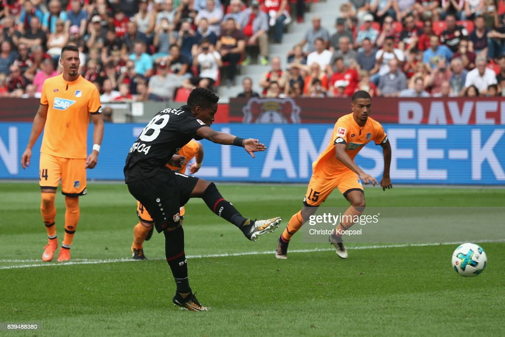 Wendell of Leverkusen scores the first goal by penalty during the Bundesliga match between Bayer 04 Leverkusen and TSG 1899 Hoffenheim at BayArena on August 26, 2017 in Leverkusen, Germany.