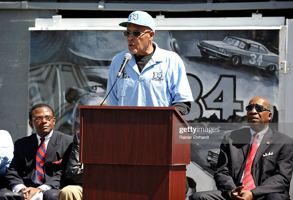 Wendell Scott Jr. speaks during the unveiling of a historical marker in honor of his father, Wendell O. Scott Sr., on April 5, 2013 in Danville, Virginia.