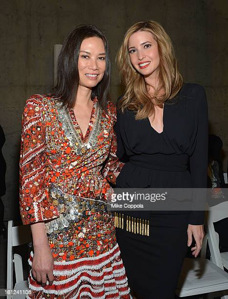 Wendi Deng Murdoch and Ivanka Trump attend the Altuzarra fall 2013 fashion show during MercedesBenz Fashion Week at Skylight Studio on February 9...
