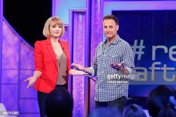 ME '103' Wendi McLendonCovey instructs three of her celebrity friends Beth Behrs Chris Harrison and Usher via a remote ear piece to interact with...