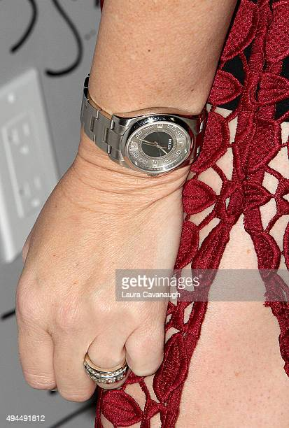 Wendi McLendonCovey ring and Rolex watch detail attends AOL BUILD Presents 'The Goldbergs' at AOL Studios In New York on October 27 2015 in New York...