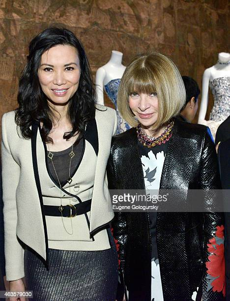 Wendi Murdoch and Ana Wintour attend The Metropolitan Museum Of Art's 'China Through The Looking Glass' Press Presentation at Metropolitan Museum of...