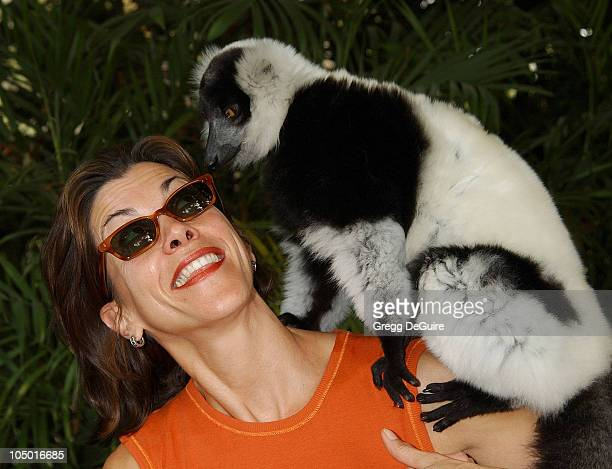 Wendie Malick Boo the Lemur during Wildlife Waystation Presents The 8th Annual Safari Brunch at Private Home in Pasadena California United States