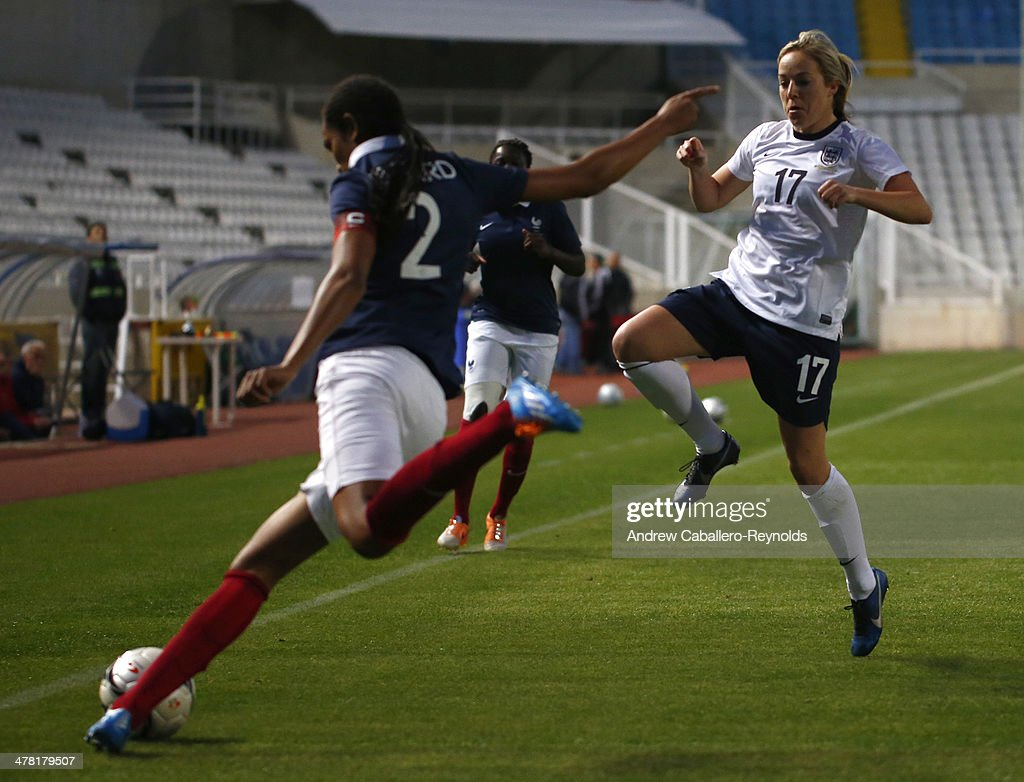 Wendie Renard of France and Gemma Davison of England in action during the Cyprus cup final between England an France at GSP stadium on March 12, 2014 in Nicosia, Cyprus.