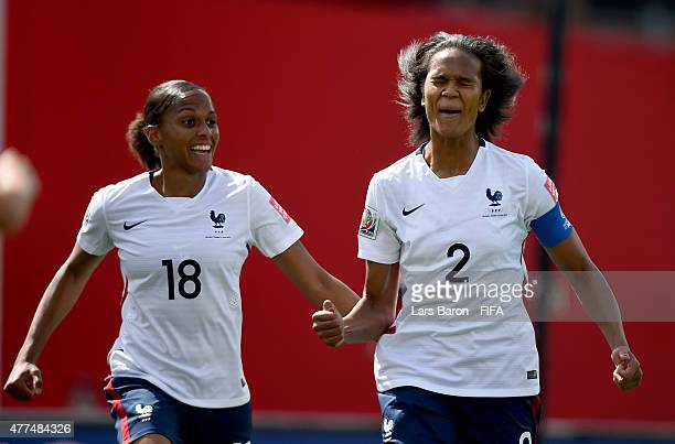 Wendie Renard of France celebrates with Marie Laure Delie of France after her teams second goal during the FIFA Women's World Cup 2015 Group F match...