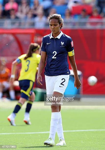Wendie Renard of France looks to the ground late in the FIFA Women's World Cup Group F match between France and Colombia at Moncton Stadium on June...