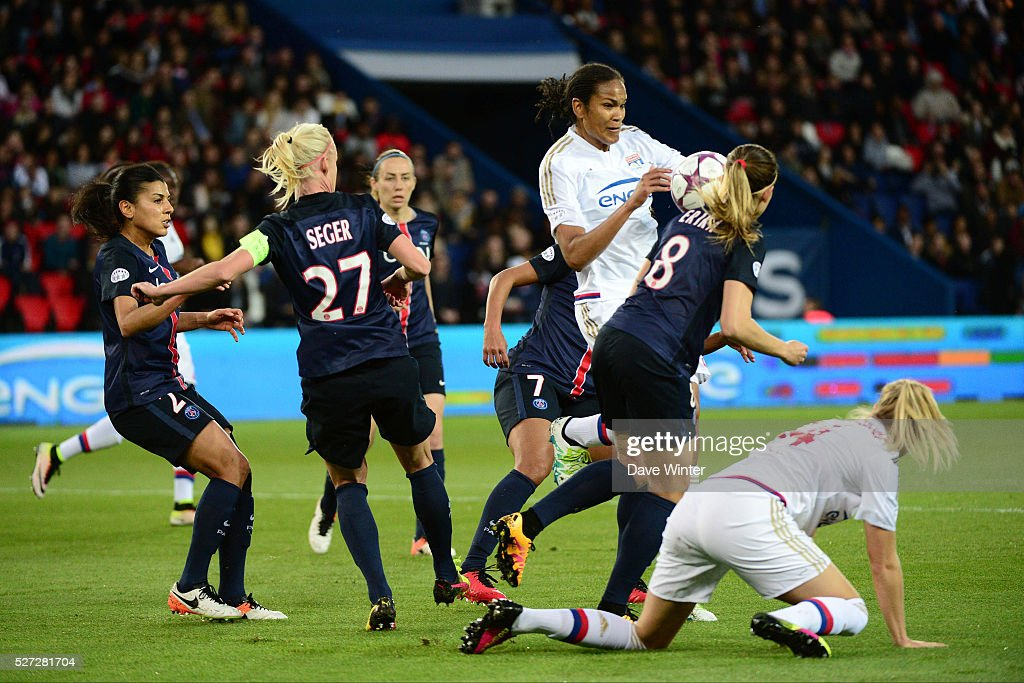 Wendie Renard of Lyon and Erika of PSG compete during the Uefa Women's Champions League match, semi-final, second leg, between Paris Saint Germain and Olympique Lyonnais at Parc des Princes on May 2, 2016 in Paris, France.