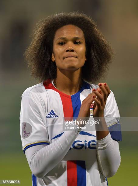 Wendie Renard of Lyon celebrates at the end of the UEFA Women's Champions League Quater Final first leg match between VfL Wolfsburg and Olympique...