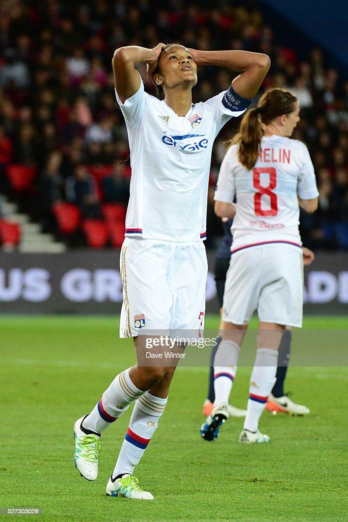 Wendie Renard of Lyon misses a chance during the Uefa Women's Champions League match, semi-final, second leg, between Paris Saint Germain and Olympique Lyonnais at Parc des Princes on May 2, 2016 in Paris, France.