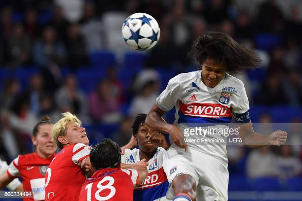 Wendie Renard of Lyon scores a goal during the UEFA Women's Champions League Round of 32 Second Leg match between Lyon and Medyk Konin at Groupama...