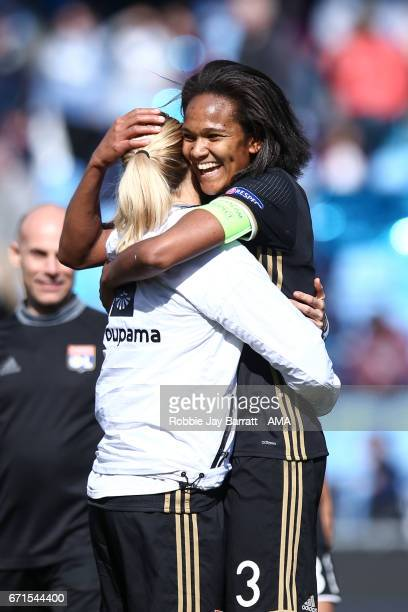Wendie Renard of Olympique Lyonnais celebrates at full time during the UEFA Women's Champions League semi final first leg match between Manchester...