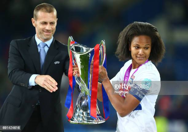 Wendie Renard of Olympique Lyonnais Feminies with Tophy during the UEFA Women's Champions League Final match between Olympique Lyonnais Feminies and...