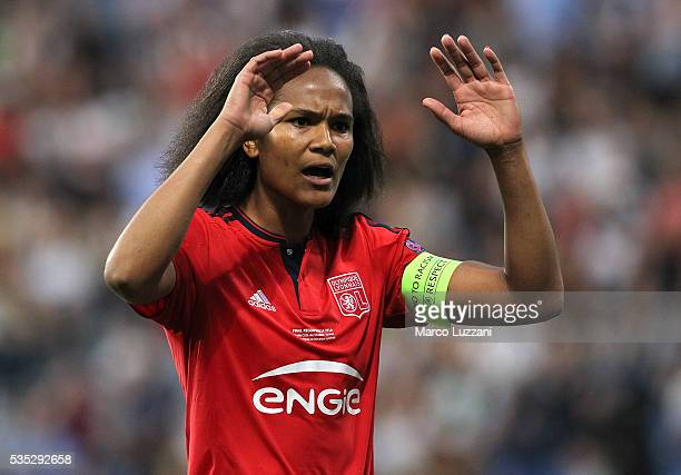 Wendie Renard of Olympique Lyonnais gestures during the UEFA Women's Champions League Final VfL Wolfsburg and Olympique Lyonnais between at Mapei...