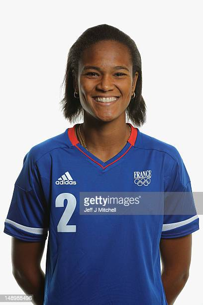 Wendie Renard poses during the France Women's official Olympic Football Team portraits on July 21 2012 in Glasgow Scotland