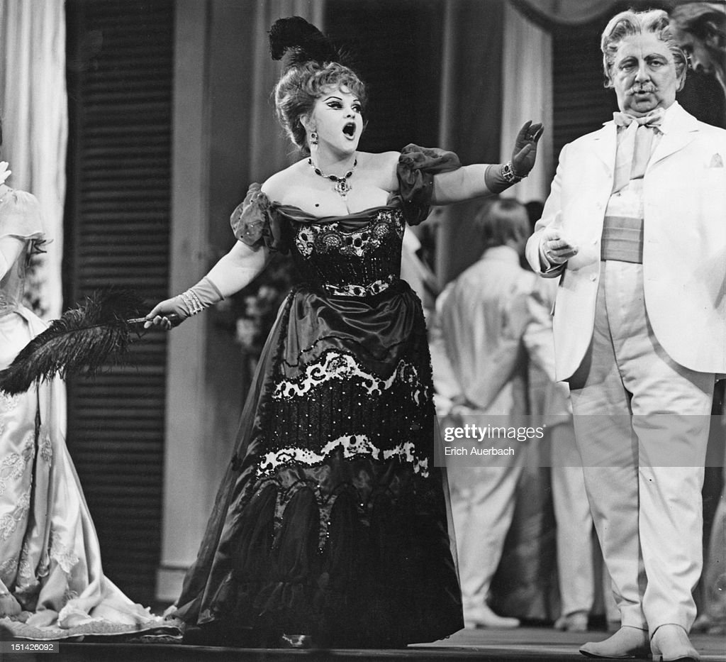 Wendy Baldwin as Madame Sciocca and Owen Brannigan as Agenor in the Sadler's Wells production of Malcolm Williamson's opera 'The Violins Of Saint...