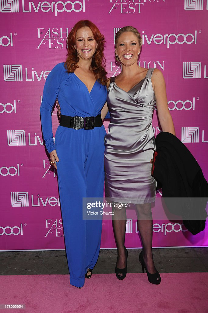 Wendy de los Cobos and Andrea Noli attend the Liverpool Fashion Fest Autumn/Winter 2013 at Club de Banqueros on August 22, 2013 in Mexico City, Mexico.