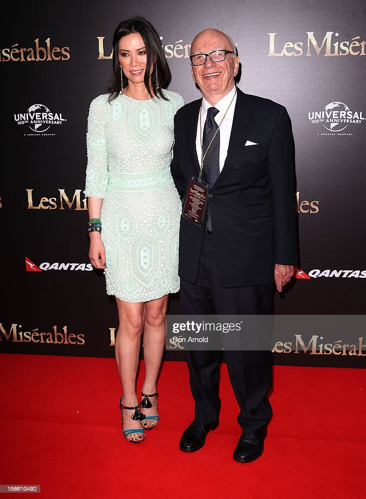 Wendy Deng and <a gi-track='captionPersonalityLinkClicked' href=/galleries/search?phrase=Rupert+Murdoch&family=editorial&specificpeople=160571 ng-click='$event.stopPropagation()'>Rupert Murdoch</a> pose during the Australian premiere of 'Les Miserables' at the State Theatre on December 21, 2012 in Sydney, Australia.