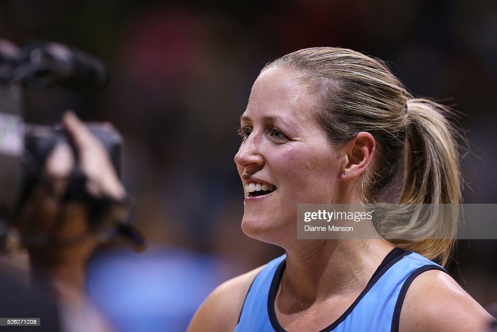 Wendy Frew of the Steel speaks with SkyTV during the ANZ Championship match between the Steel and the Fever on April 30, 2016 in Invercargill, New Zealand.