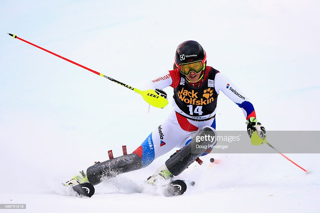 <a gi-track='captionPersonalityLinkClicked' href=/galleries/search?phrase=Wendy+Holdener&family=editorial&specificpeople=7471001 ng-click='$event.stopPropagation()'>Wendy Holdener</a> of Switerland skis the first run of the ladies slalom at the 2014 Audi FIS Ski World Cup at the Nature Valley Aspen Winternational at Aspen Mountain on November 30, 2014 in Aspen, Colorado.