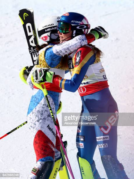 Wendy Holdener of Switzerland and Mikaela Shiffrin of The United States celebrate winning silver and gold medals in the Women's Slalom during the FIS...