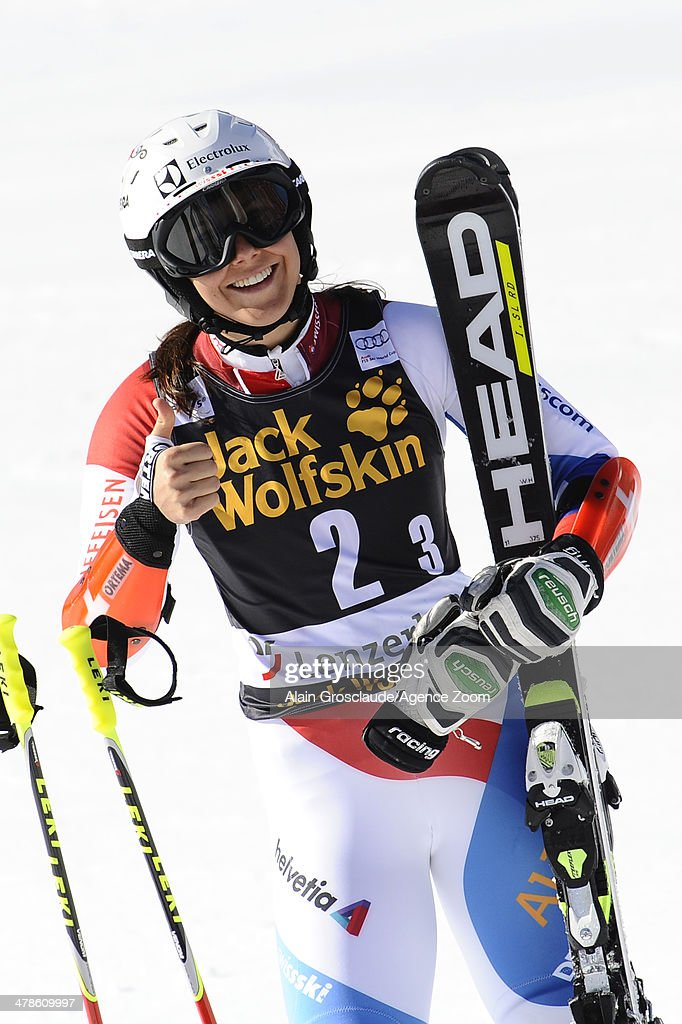 <a gi-track='captionPersonalityLinkClicked' href=/galleries/search?phrase=Wendy+Holdener&family=editorial&specificpeople=7471001 ng-click='$event.stopPropagation()'>Wendy Holdener</a> of Switzerland celebrates during the Audi FIS Alpine Ski World Cup Nation's Team Event on March 14, 2014 in Lenzerheide, Switzerland.