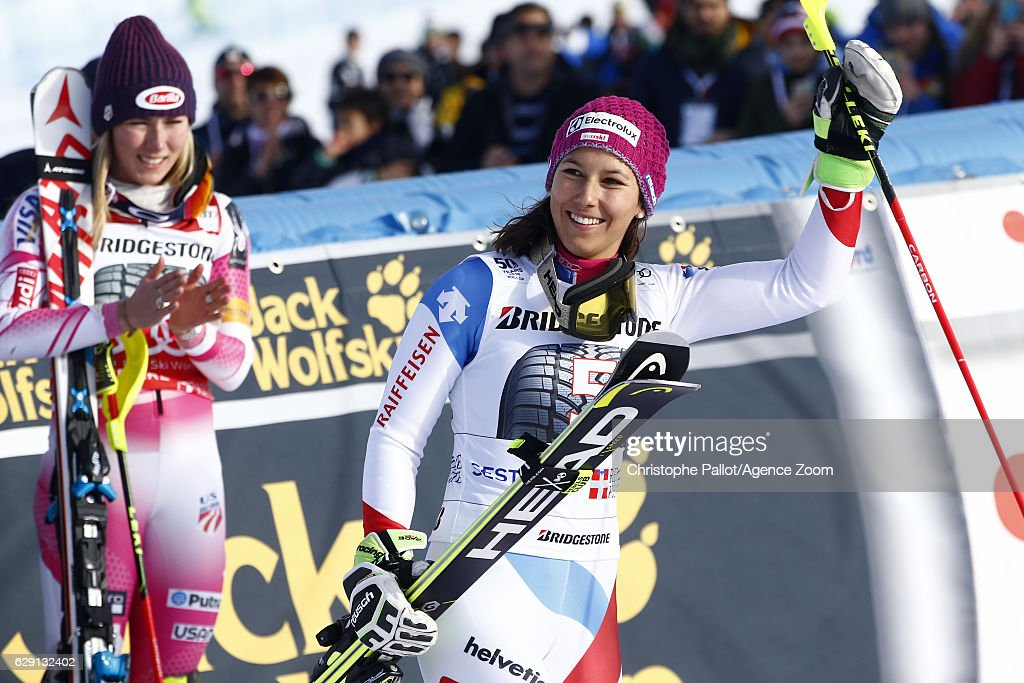 Wendy Holdener of Switzerland celebrates during the Audi FIS Alpine Ski World Cup Women's Slalom on December 11, 2016 in Sestriere, Italy