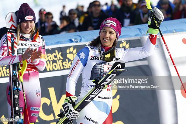 Wendy Holdener of Switzerland celebrates during the Audi FIS Alpine Ski World Cup Women's Slalom on December 11 2016 in Sestriere Italy