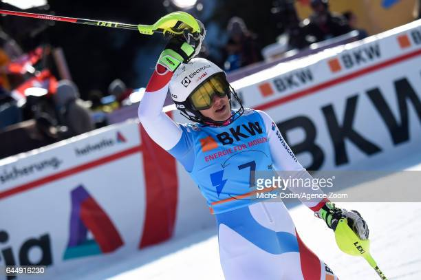 Wendy Holdener of Switzerland celebrates during the Audi FIS Alpine Ski World Cup Women's Alpine Combined on February 24 2017 in Crans Montana...