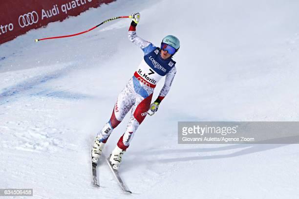 Wendy Holdener of Switzerland celebrates during the FIS Alpine Ski World Championships Women's Alpine Combined on February 10 2017 in St Moritz...