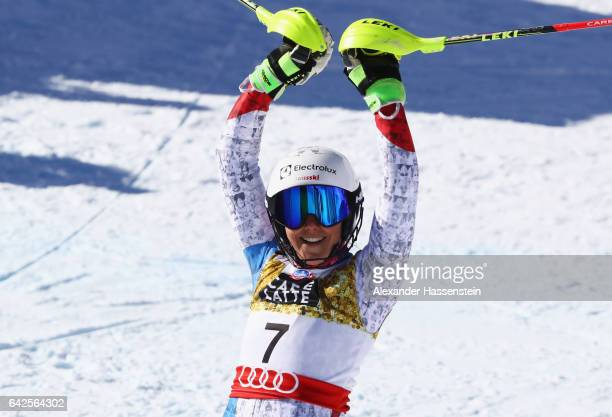 Wendy Holdener of Switzerland celebrates getting the Silver medal in the Women's Slalom during the FIS Alpine World Ski Championships on February 18...