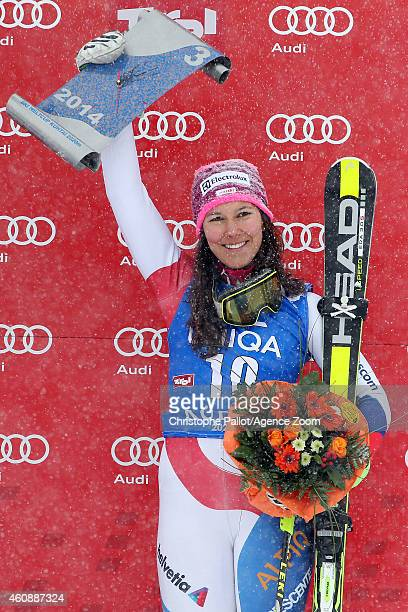 Wendy Holdener of Switzerland celebrates on the podium after taking 3rd place during the Audi FIS Alpine Ski World Cup Women's Slalom on December 29...