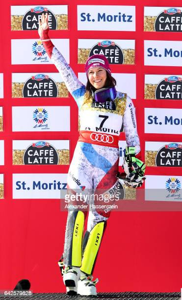 Wendy Holdener of Switzerland celebrates winning the silver medal during the flower ceremony after the Women's Slalom during the FIS Alpine World Ski...
