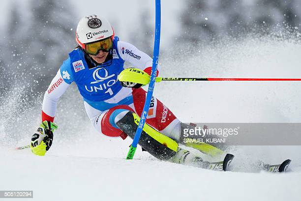 Wendy Holdener of Switzerland competes during first run of the Women's night slalom of FIS Ski World cup in Flachau Austria on January 15 2016 / AFP...
