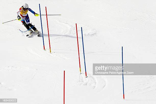 Wendy Holdener of Switzerland competes during the Audi FIS Alpine Ski World Cup Women's Slalom on March 10 2013 in Ofterschwang Germany