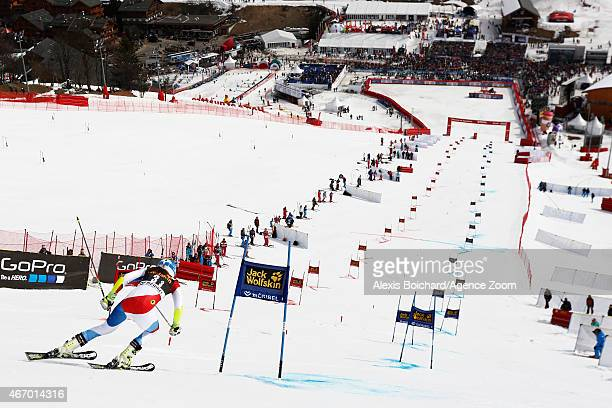 Wendy Holdener of Switzerland competes during the Audi FIS Alpine Ski World Cup Finals Nations Team Event on March 20 2015 in Meribel France