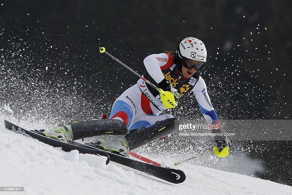 Wendy Holdener of Switzerland competes during the Audi FIS Alpine Ski World Cup Finals Women's Slalom on March 15, 2014 in Lenzerheide, Switzerland.