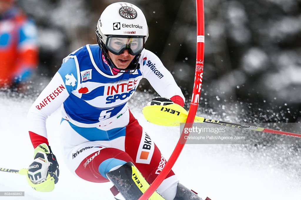 <a gi-track='captionPersonalityLinkClicked' href=/galleries/search?phrase=Wendy+Holdener&family=editorial&specificpeople=7471001 ng-click='$event.stopPropagation()'>Wendy Holdener</a> of Switzerland competes during the Audi FIS Alpine Ski World Cup Women's Slalom on January 05, 2016 in Santa Caterina Valfurva, Italy.