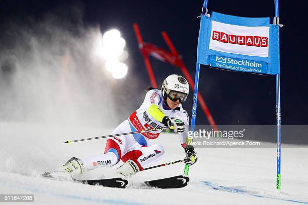 Wendy Holdener of Switzerland competes during the Audi FIS Alpine Ski World Cup Men's and Women's City Event on February 23 2016 in Stockholm Sweden
