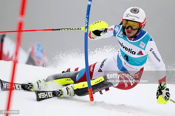 Wendy Holdener of Switzerland competes during the Audi FIS Alpine Ski World Cup Women's Super Combined on March 13 2016 in Lenzerheide Switzerland