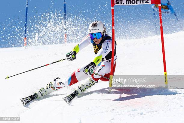 Wendy Holdener of Switzerland competes during the Audi FIS Alpine Ski World Cup Finals Men's and Women's Team Event on March 18 2016 in St Moritz...