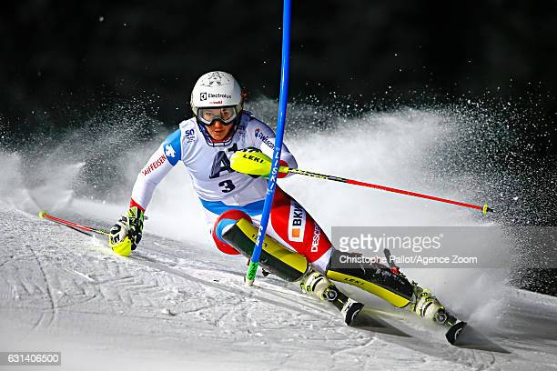 Wendy Holdener of Switzerland competes during the Audi FIS Alpine Ski World Cup Women's Slalom on January 10 2017 in Flachau Austria
