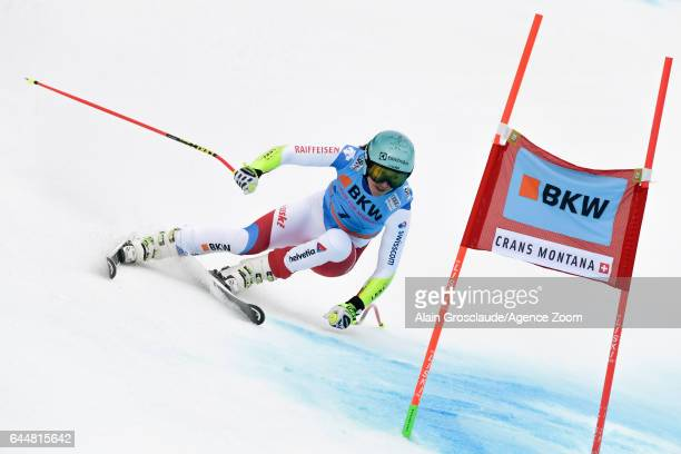 Wendy Holdener of Switzerland competes during the Audi FIS Alpine Ski World Cup Women's Alpine Combined on February 24 2017 in Crans Montana...