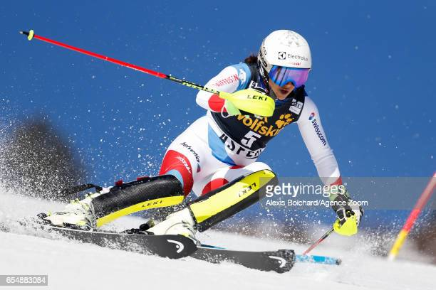 Wendy Holdener of Switzerland competes during the Audi FIS Alpine Ski World Cup Finals Women's Slalom and Men's Giant Slalom on March 18 2017 in...