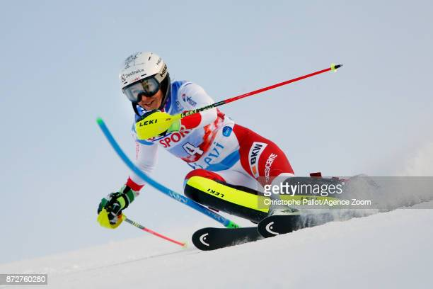 Wendy Holdener of Switzerland competes during the Audi FIS Alpine Ski World Cup Women's Slalom on November 11 2017 in Levi Finland