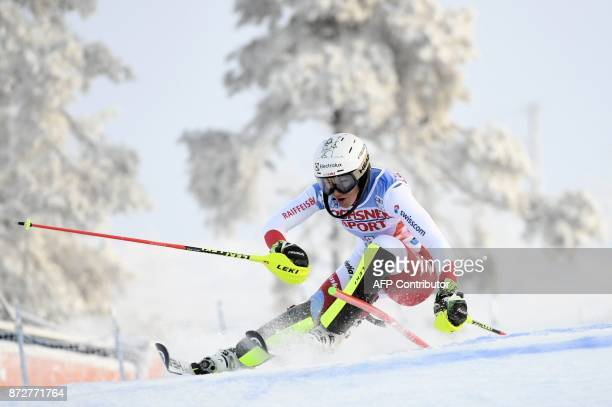 Wendy Holdener of Switzerland competes during the first run of the Ladies' FIS Alpine Ski World Cup slalom race in Levi Kittilae Finland on November...