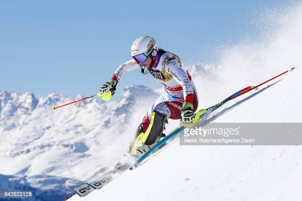 Wendy Holdener of Switzerland competes during the FIS Alpine Ski World Championships Women's Slalom on February 18 2017 in St Moritz Switzerland
