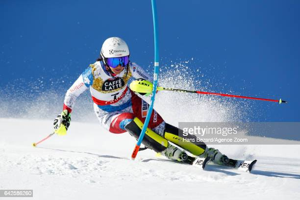 Wendy Holdener of Switzerland competes during the FIS Alpine Ski World Championships Women's Slalom on February 18 2017 in St Moritz Switzerland