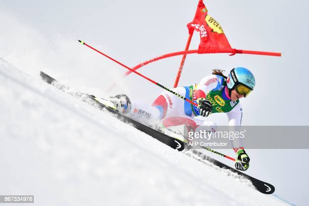 Wendy Holdener of Switzerland competes during the women's Giant Slalom event of the FIS ski World cup in Soelden Austria on October 28 2017 / AFP...