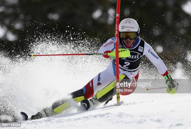 Wendy Holdener of Switzerland competes in the first run of the Audi FIS World Cup Ladies' Slalom on March 11 2017 in Squaw Valley California Holdener...