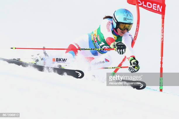 Wendy Holdener of Switzerland competes in the first run of the AUDI FIS Ski World Cup Ladies Giant Slalom on October 28 2017 in Soelden Austria